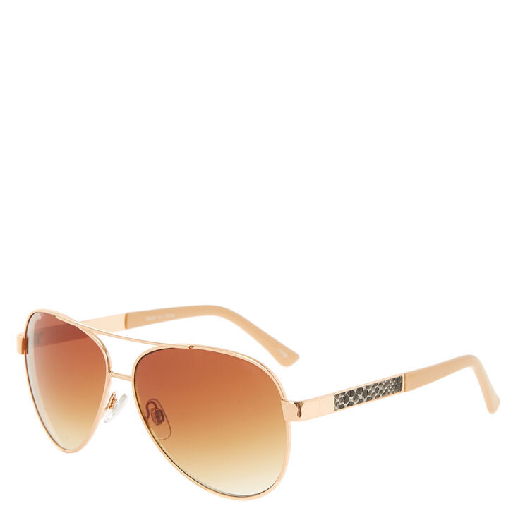 Gold Snake Print Aviator Sunglasses,