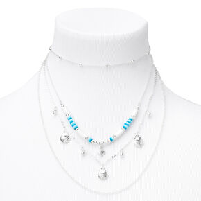 Silver Disc Seashell Multi Strand Necklace - Blue,