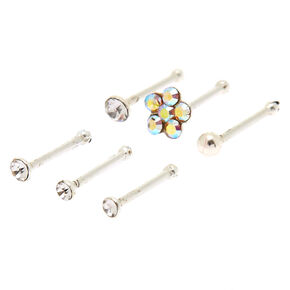 Sterling Silver 22G Mixed Shape Nose Studs - 6 Pack,