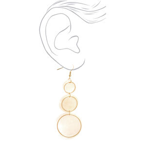 "Gold 3"" Round Seashell Trio Drop Earrings - White,"