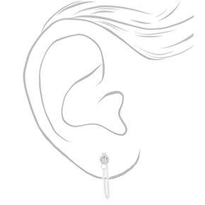 Sterling Silver 3MM Crystal Chain Stud Earrings,