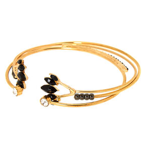 Gold Embellished Cuff Bracelets - Black,