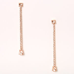 "Rose Gold 3"" Rhinestone Teardrop Linear Drop Earrings,"