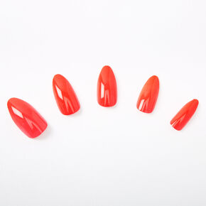 Glossy Stiletto Faux Nail Set - Coral, 24 Pack,