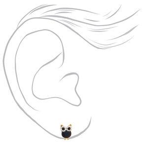 Gold Graduated Owl Stud Earrings - 3 Pack,