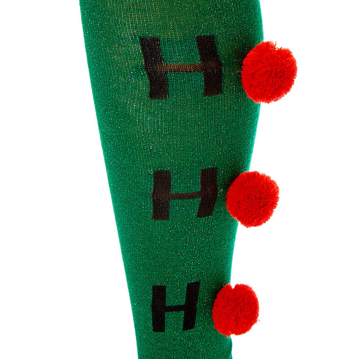 Ho Ho Ho Pom Over the Knee Socks - Green,