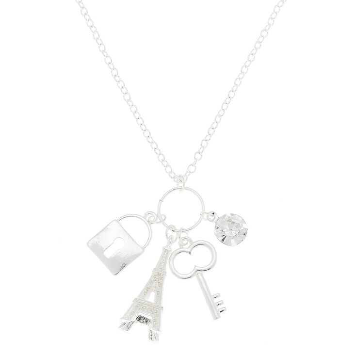 Silver Eiffel Tower Long Necklace,