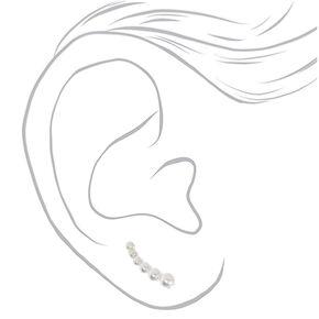 """Silver .5"""" Graduated Pearl Ear Crawler Earrings,"""