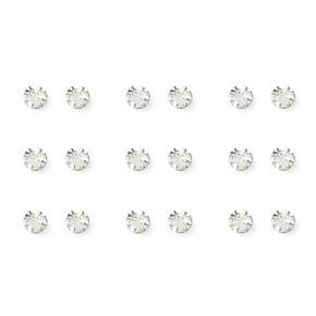 Silver 3MM Bezel Set Crystal Stud Earrings - 9 Pack,