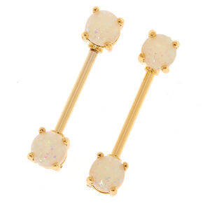 Gold Opal Nipple Rings - 2 Pack,