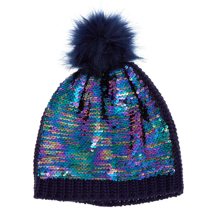 Reversible Sequin Oil Slick Pom Beanie - Navy,