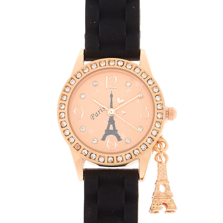 Rose Gold Paris Charm Rubber Watch - Black,