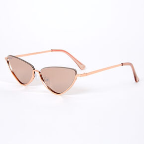 Metallic Rimless Top Slim Cat Eye Sunglasses - Rose Gold,