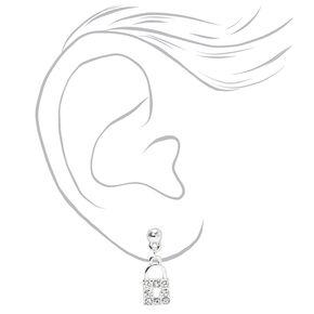 Silver Heart Lock & Key Dangly Stud Earrings - 3 Pack,