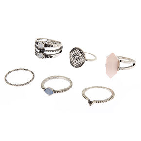 Silver Tribal Stone Rings - 6 Pack,