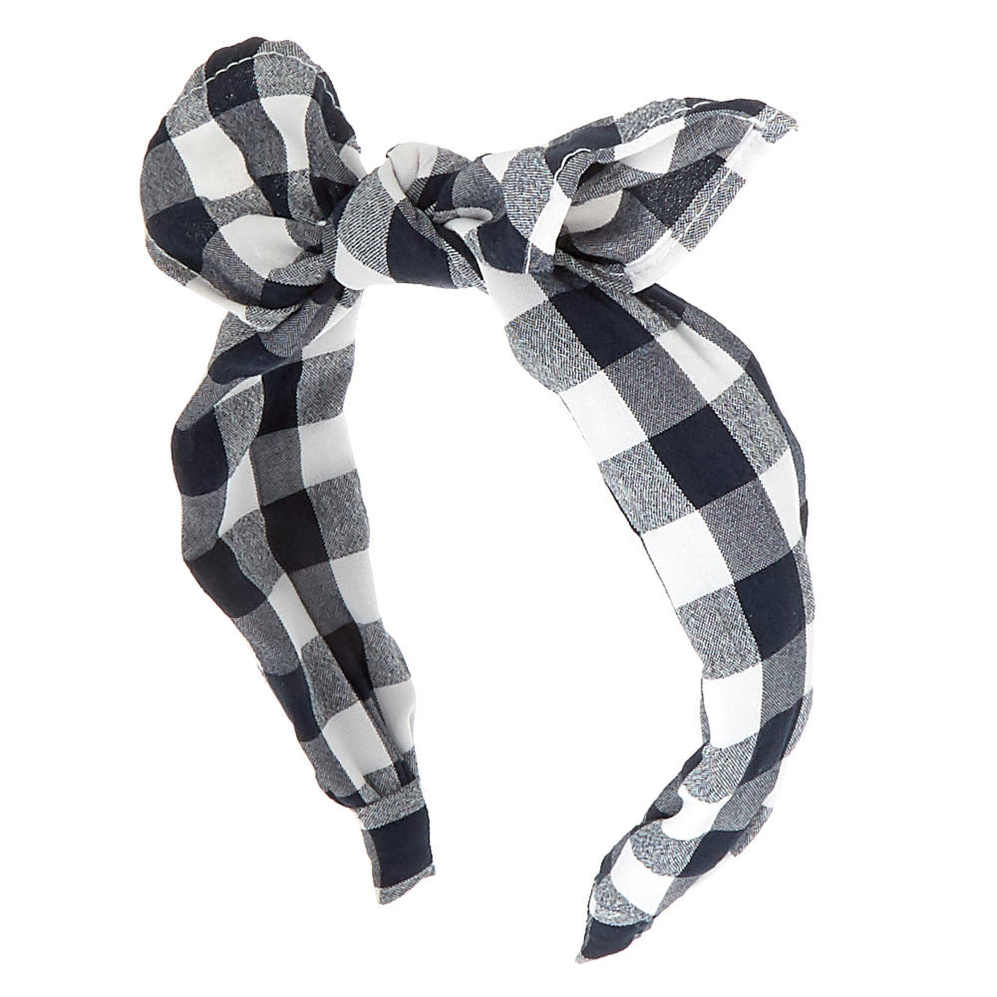 b3724b86b76eb Gingham Knot Bow Headband - Black