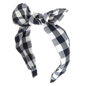 Gingham Knot Bow Headband - Black,