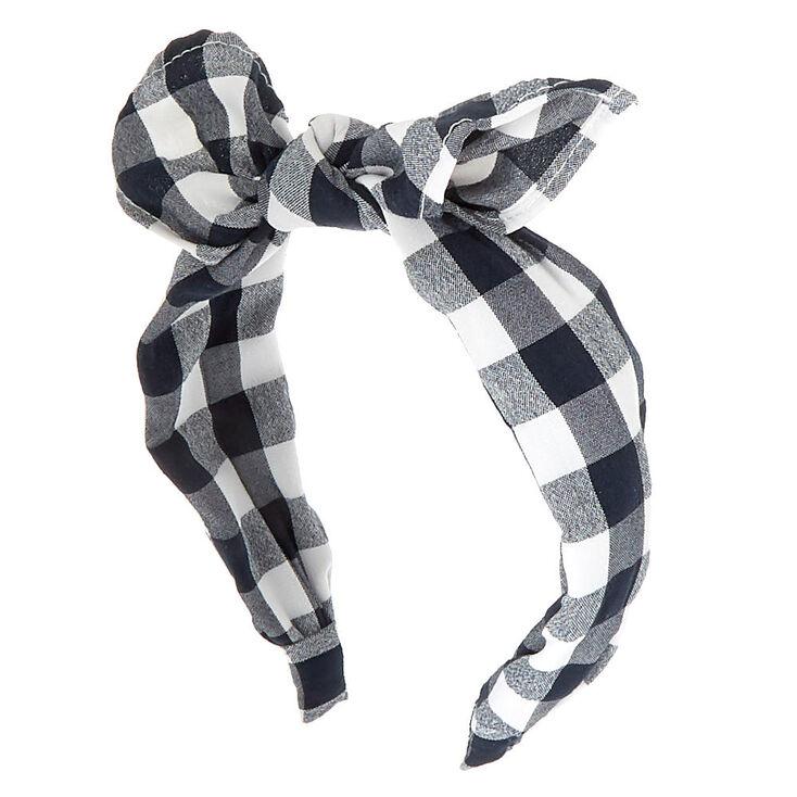 Gingham Knot Bow Headband - Black,