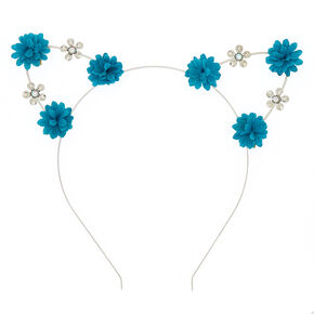 Silver Flower Girl Cat Ears Headband - Teal,