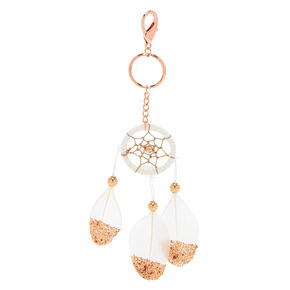 Dreamcatcher Feather Keychain - White,