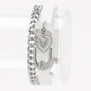 Buckle Strap & Chain Link Wrap Bracelet - White,