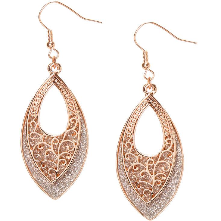 "Rose Gold 2"" Glitter Filigree Drop Earrings,"