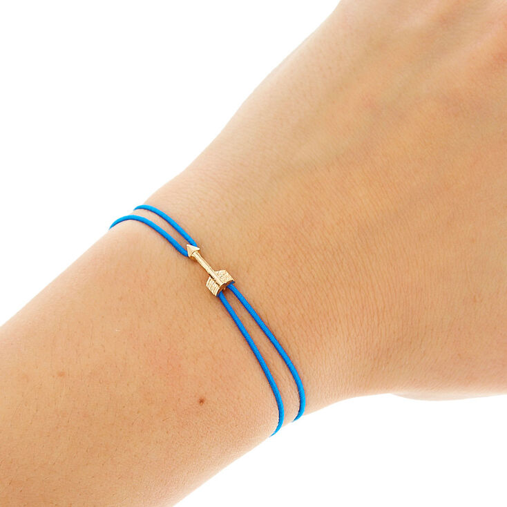 Blue Double Stretch Bracelet with Gold Arrow,
