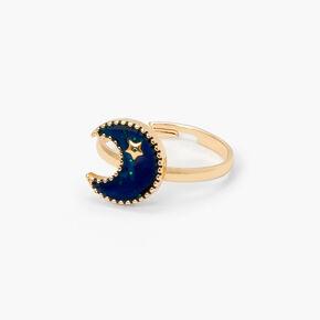 Gold Cresent Moon Mood Ring,