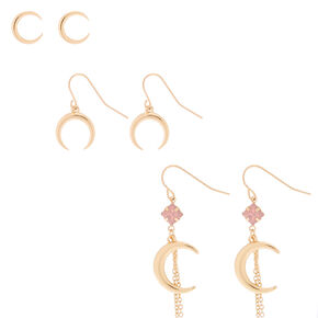 Gold Crescent Moon Earring Set - 3 Pack,