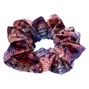 Blue & Purple Velvet Snakeskin Hair Scrunchie,