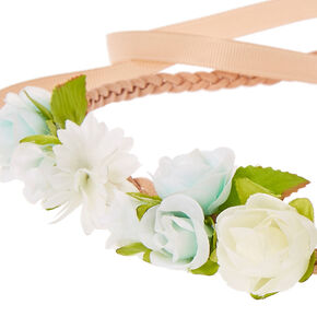 Blue & White Flower Clusters  Beige Faux Suede & Ribbon Headwrap,