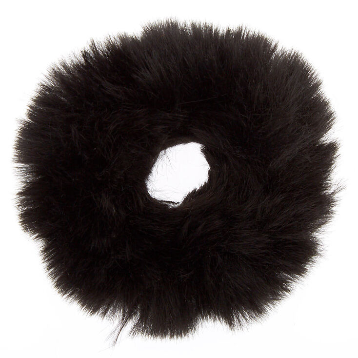 Faux Fur Hair Scrunchie - Black,