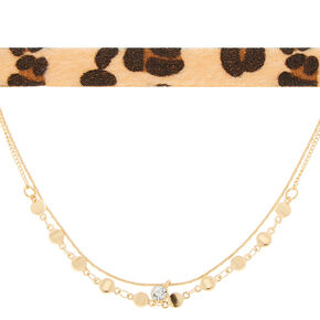 Gold & Leopard Chokers - 2 Pack,