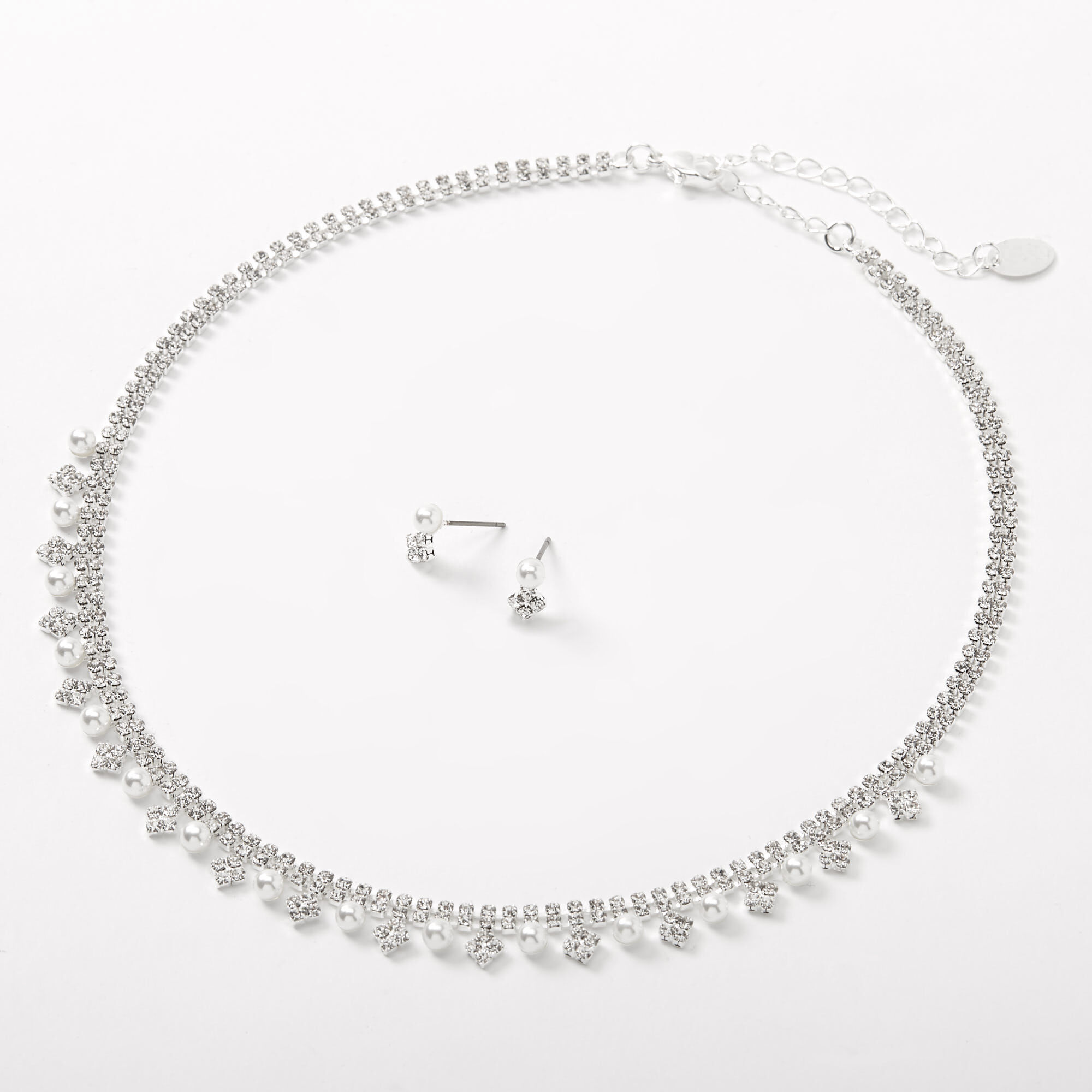 *Glass pearl necklace with rhinestones with matching Earrings and Bracelet*
