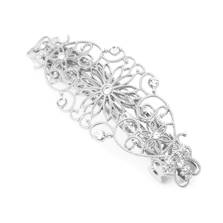 Silver Flowers & Hearts Filigree Barrette with Rhinestone Accents,