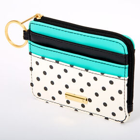 Black, White & Teal Polka Dot Coin Purse,