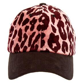 Leopard Velveteen Baseball Cap - Pink,