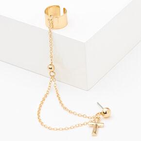 Gold Cross Ear Cuff Connector Earrings,