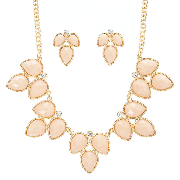 Ivory Leaf Necklace & Earring Set,