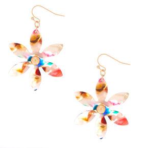 """2"""" Resin Painted Flower Drop Earrings,"""