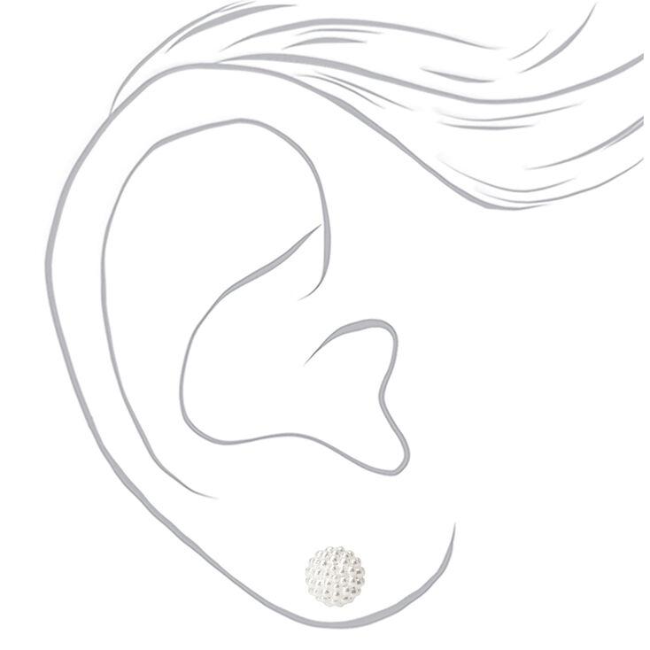 Sterling Silver Pearl Fireball Stud Earrings,