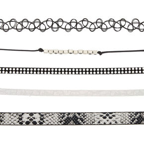 Silver Metallic Snake Print Choker Necklaces - 5 Pack,