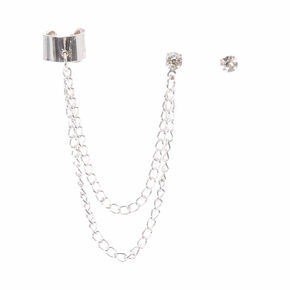 Silver Tone Chain Ear Cuff & Faux Crystal Stud Earring Set,