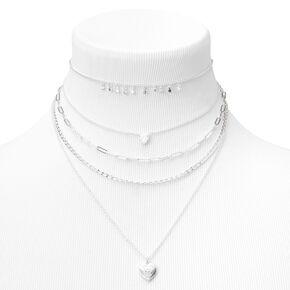 Silver Evil Eye Heart & Star Chain Multi Strand Necklace,