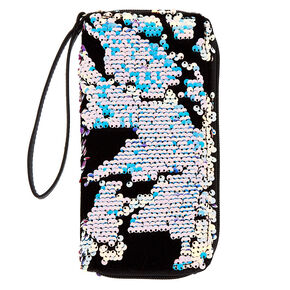 Velvet Reversible Sequin Wristlet - Black,