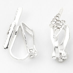 Silver Crystal Lightning Bolt Clip On Stud Earrings,