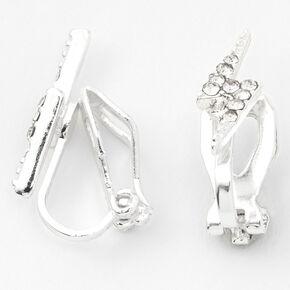 Silver Crystal Lightning Bolt Clip On Stud Earrings,