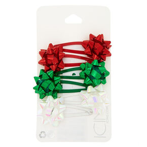 Christmas Bow Snap Hair Clips - 6 Pack,
