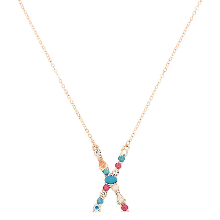 Embellished Long Initial Pendant Necklace - X,