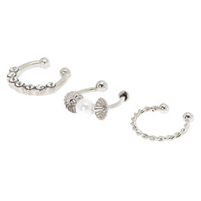Silver Twisted Pearl Faux Cartilage Hoop Earrings - 3 Pack,